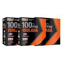 Combo: 3x de Whey 100% Pro Isolada Voxx Suplemenos Sabor Morango - 900gr - Cimed -