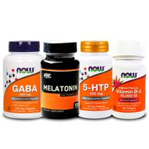 Combo 5-HTP  + GABA  + Melatönïnä 3mg ON + Vit D3 Now Foods - Optimum nutrition + now foods