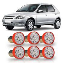 Combo 6 Lâmpadas 12 LEDs SMD 12V 2 Polos Pinos Desencontrados Com Trava Diagonal Luz Vermelha - Autopoli