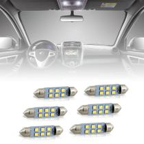 Combo 6 Lâmpadas Torpedo 36mm 6 LEDs 12V Luz Branca - Autopoli
