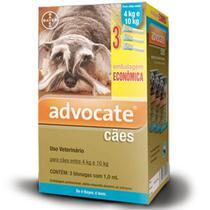 Combo Advocate Bayer 1,0ml Para Cães de 4 a 10 kg - 3 Pipetas -