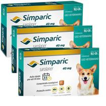 Combo Anti Pulgas Simparic 40 Mg 10, A 20 Kg 9 Comprimidos - Zoetis