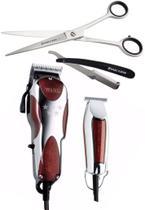 Combo barber maquina corte magic clip v9000 110v + acabamento  detailer + tesoura fio laser  7.0 + navalhete marco boni - Wahl