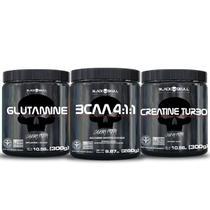 Combo bcaa + glutamina + creatina black skull -