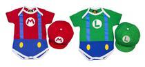 Combo Bodys + Acessório Personagens Super Mario + Luigi - Bebê