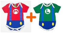 Combo Bodys Personagens Super Mario + Luigi - Bebê