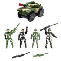 Combo Brinquedo Soldados Militares com Arminhas e Jipe Exercito que Gira 360 - Cim Toys