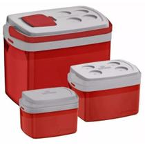 Combo Caixa Térmica 32, 12, 5 L Cooler Soprano Vermelho -