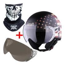 Combo capacete aberto custom bandeira usa + viseira extra silver + mascara caveira tubo flex bandana - Kraft Boulevard Scooter Scub Drag