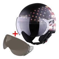 Combo capacete moto aberto custom bandeira usa classico retrô visor cristal + viseira extra silver - Kraft Boulevard Scooter Scub Drag