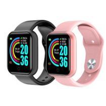 COMBO com 2 Relogio Inteligente Smartwatch Y68 Bluetooth sendo 1Preto 1 Rosa -