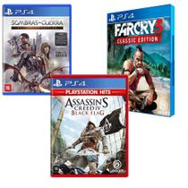 Combo de Jogos PS4 - Assassin's Creed IV Black Flag + Terra Média: Sombra da Guerra + Far Cry 3 - Ubisoft