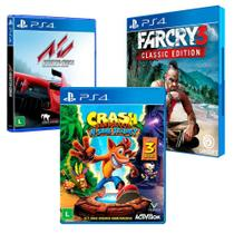 Combo de Jogos PS4 - Crash Bandicoot N'Sane Trilogy + Far Cry 3 Classic Edition + Assetto Corsa - Activision