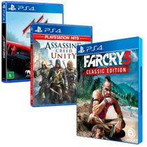Combo de Jogos PS4 - Far Cry 3 Classic Edition + Assassin's Creed Unity + Assetto Corsa - Ubisoft