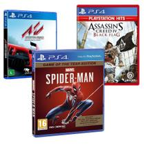 Combo de Jogos PS4 - Marvel's Spider Man GOTY + Assetto Corsa + Assassin's Creed IV Black Flag - Ubisoft