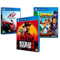 Combo de Jogos PS4 - Red Dead Redemption 2 + Crash Bandicoot N'Sane Trilogy + Assetto Corsa - Rockstar Games
