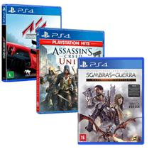 Combo de Jogos PS4 - Terra Média: Sombra da Guerra + Assetto Corsa + Assassin's Creed Unity - Ubisoft