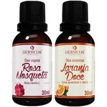 Combo dermcos óleo essencial laranja doce 30 ml + óleo vegetal rosa mosqueta 30 ml -