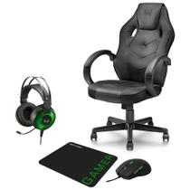 Combo Gamer - Cadeira Ergonômica, Headset Raiko USB 7.1 3D LED e Mouse 3200DPI 6 Botões com Mouse Pad - GA182K - Kit
