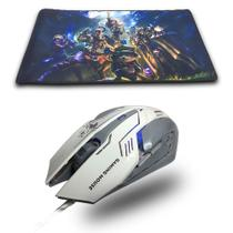 Combo Gamer Mouse Branco 3200dpi + Mouse Pad Extra Grande League Of Legends 70x35 - Galviani