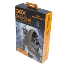 Combo Gamer War Mousepad + Mouse Óptico Preto com Fio, LED, 6 Botões MC100 Oex Game -