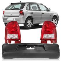 Combo Gol G4 2006 A 2014 Parachoque Traseiro + Par Lanterna Traseira Bicolor Carcaça Vermelha - Automotive Imports