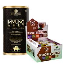 Combo Immuno Whey 375g Essential + Barra Protein Nutri 12un - Health + Essential