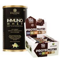 Combo Immuno Whey 375g Essential + Barra Protein Nutri 12un - Health+Essential