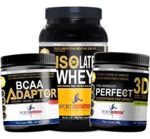 Combo Isolate Whey A 2 Melhor Proteina + Pré Treino + Bcaa - Sports Nutrition