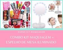 Combo Kit Maquiagem Caixa Maquiagem + espelho Led - Ybx