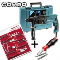 Combo martelete combinado 24mm 800 watts hr2470 110v + jogo de alicate com 5 peças jr861 + chave multiuso - 220r06 - makita -