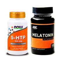 Combo Melatönïnä 3MG 100 caps ON + 5-HTP 60 Vcaps Now Foods - Optimum nutrition + now foods