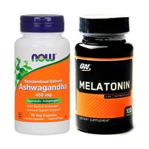 Combo Melatönïnä 3mg 100ct ON + Ashwagandha 90Caps Now Foods - Optimum nutrition + now foods