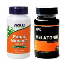 Combo Melatönïnä 3MG 100ct ON + Panax Giseng -  Now Foods - Optimum nutrition + now foods