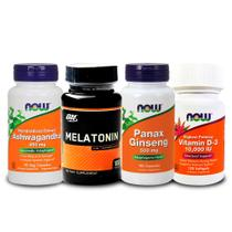 Combo Melatönïnä 3mg + Ashwagandha + Panax + VIT D3 Now Food - Optimum nutrition + now foods