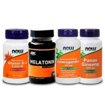 Combo Melatönïnä 3mg ON + Ashwagandha + Panax + Vit D3  Now - Optimum nutrition + now foods