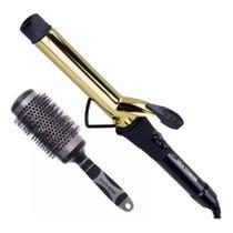 Combo modelador de cachos gold titanium 32mm e escova 72mm - Mq Hair