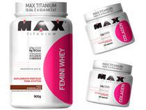 Combo Mulher - Femini Whey 900g Chocolate + 2 Colágeno 100c - Max Titanium -