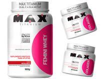 Combo Mulher - Femini Whey 900g Morango + 2 Colágeno 100c - Max Titanium -
