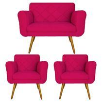 Combo Namoradeira e 2 Poltrona Decorativa Para Escritório Isabella Suede Rosa Pink - DL DECOR - Doce Lar Decorações