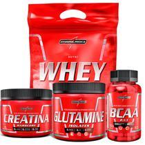 Combo Nutri Whey + Creatina 150g + Glutamina 150g + Bcaa 90 Capsulas - Integral Médica -