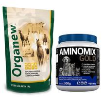 Combo Organew 1 Kg Probiótico + Aminomix Gold Pó 500g Vetnil -
