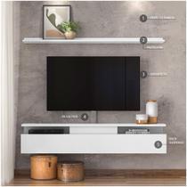 Combo Papel de parede e Rack com Suporte TV até 80 polegadas Dj Móveis - Amo Morar
