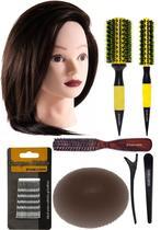 Combo penteado escovista manequim + 2 escovas ceramica + grampos + clip liso + escova de topete larga + rosca marron - MARCO BONI