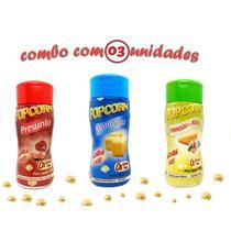 Combo Popcorn - 03 Sabores - Manteiga, Parmesão e Alho e Presunto - Flavored Popcorn