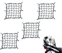 Combo Rede Elástica Aranha Preta Capacete Carga Bagageiro 35cm x 35cm - RE0320 - 4 Peças - Piraval