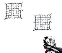 Combo Rede Elástica Aranha Preta Capacete Carga Bagageiro 45cm x 45cm - RE0321 - 2 Peças - Piraval