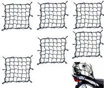 Combo Rede Elástica Aranha Preta Capacete Carga Bagageiro 45cm x 45cm - RE0321 - 6 Peças - Piraval
