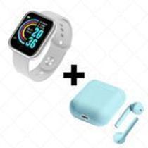COMBO Relógio Smartwatch D20 Batimento Cardíaco Monitor  + FONE SEM FIO BLUETOOTH INPODS 12 AZUL - Mcmc
