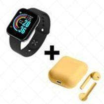 COMBO Relógio Smartwatch D20 Batimento Cardíaco Monitor PRETO  + FONE SEM FIO BLUETOOTH INPODS 12 - Mcmc